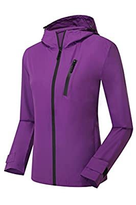ZSHOW Women's Classic Lightweight Breathable Windbreaker UV Protection Packable Quick Dry Jacket with Hood