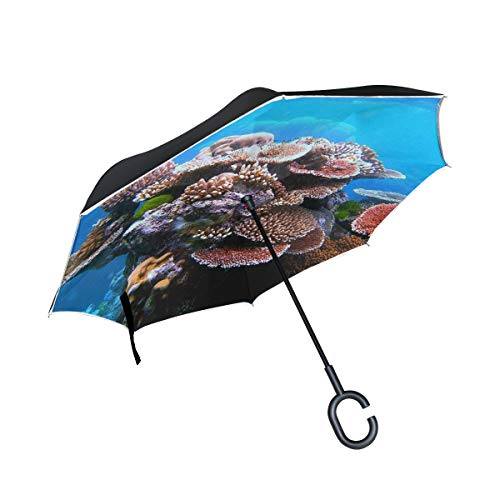 (Red Lipstick Kiss Inverted Umbrella Double Layer Windproof UV Protection Compact Car Reverse Umbrella)