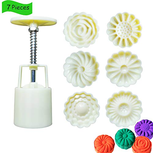 7 Pieces Bath Bomb Mold Kit, Bath Bombs Press with 6 Pieces Stamps for Making DIY Bath Bombs