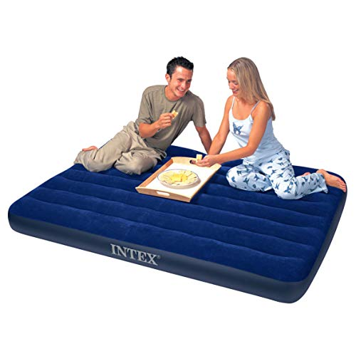 Intex 68765E Classic Downy Airbed Set with 2 Pillows and Double Quick Hand Pump, Queen