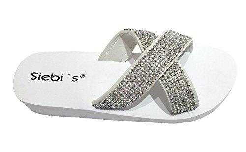 Siebi's Nizza Beach Shoe Beach Shoes Mules With Platform and Extra Easy White qN5oK