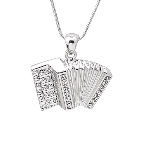 SpinningDaisy Various Crystal Musical Instrument Necklace (Accordion 1