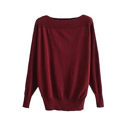 36f763eb38c XINSU HOME Retro Semi-Sheer Knit Tops Women S Fashion Clothes Slash Wide  Ribbed Slinky Casual