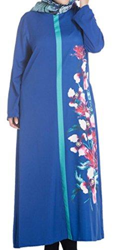 Long Maxi Casual Jaycargogo Muslim Women's Print Floral Blue Dress Sleeve Islamic FRqxwHTYpx