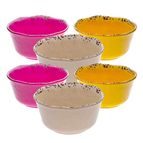 (Rustic Farmhouse Melamine Cereal Bowls, 5.5 Inches by 2.75 Inches, Assorted Colors, Set of 6 (Yellow, Pink,)
