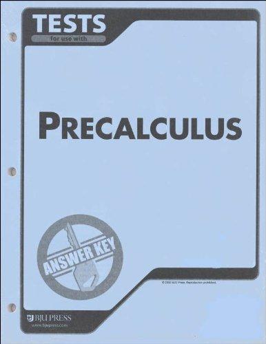Precalculus Tests Answer Key Grd 12