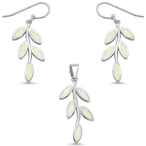 (Sterling Silver White Fire Opal Leaf Design Dangling Earring & Pendant Set)