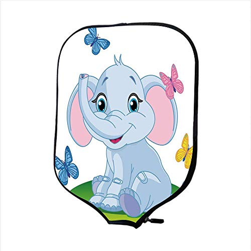 CANCAKA Neoprene Pickleball Paddle Racket Cover Case,Nursery,Cute Baby Elephant Sitting on The Meadow in Spring Time with Butterflies,Baby Blue Pink Green,Fit for Most Rackets