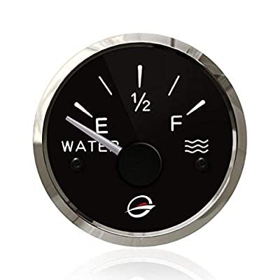 """THALASSA 2"""" 52mm Electrical Water Tank Gauge - 12V Pure Liquid Meter 240-33 ohm Racing with Backlight Designed for Empty-Full Negative Ground Systems Includes a Resistor Change to 24V: Automotive"""