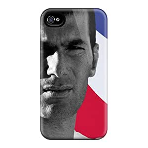 CWquN2174-PXK Tpu Phone Case With Fashionable Look For Iphone 4/4s - The Legend Of Football Zinedine Zidane And The French Flag