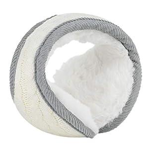 uxcell Winter Knit Earmuffs for Women Men Warm Foldable Fleece Plush Outdoor Earwarmers
