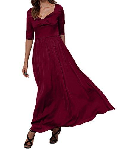 Charmant A Abschlussballkleider Langarm linie Weinrot Elegant Abendkleider Partykleider Damen Brautmutterkleider wqOwrB4
