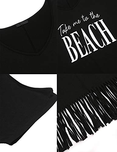 IN'VOLAND Women Plus Size Swimwear Cover Ups V-Neck Cover up top Tassel Beach Dress Letters Print Beach Dress