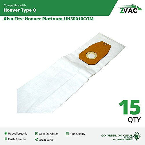 Hoover Platinum Type Q High Efficiency HEPA Vacuum Bags (15 Pack); Replaces Part AH10000, UH30010COM - Made By Zvac