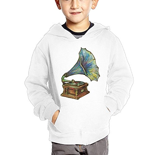 Anutknow Antique record Player phonograph Illustration Children's Fashion Casual Hooded Pocket Sweater