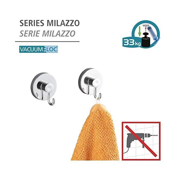 WENKO Vacuum-Loc Wandhaken im 2er Set, Handtuchhalter, Haken für Handtücher und Accessoires, Vakuum Befestigung ohne…