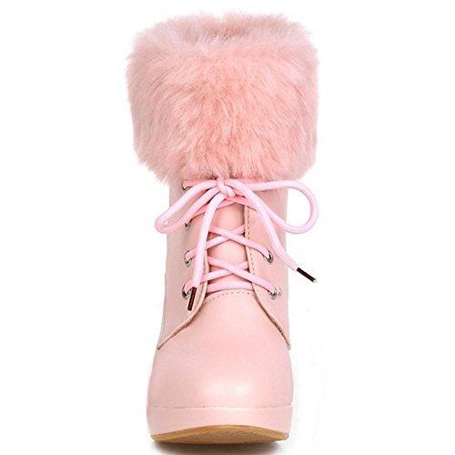 COOLCEPT Damen Heels Stiefel Schnurung Pink