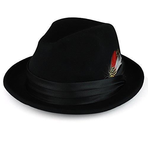 XXL Oversized Wool Felt Fedora Hat with Feather Satin Hat Band - BLACK