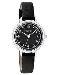 Ferenzi Women's | Small Elegant Black on Black PU Leather Band Watch | FZ15901