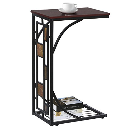 Prountet Finish Chrome Frame Snack Sofa Bed Side Magazine End Table with Scroll Desction