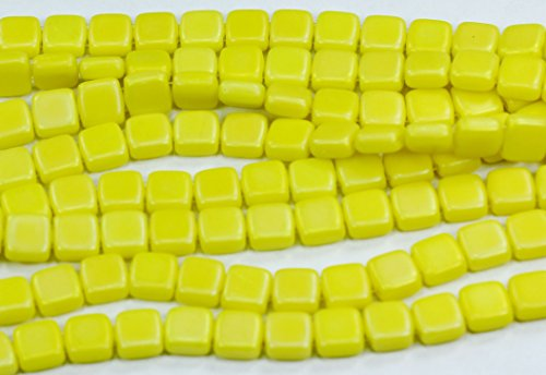 50 CzechMates Two Hole Tile Glass Beads Matte Luster Iris-Custard 6mm ()