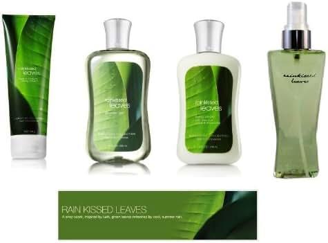 Bath & Body Works Rainkissed Leaves Body Lotion, Body Cream, Shower Gel & Fragrance Mist Gift Set Full Size