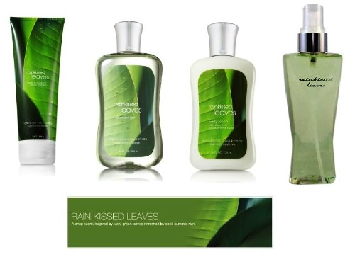 Cream Leaves Body (Bath & Body Works Rainkissed Leaves Body Lotion, Body Cream, Shower Gel & Fragrance Mist Gift Set Full Size)