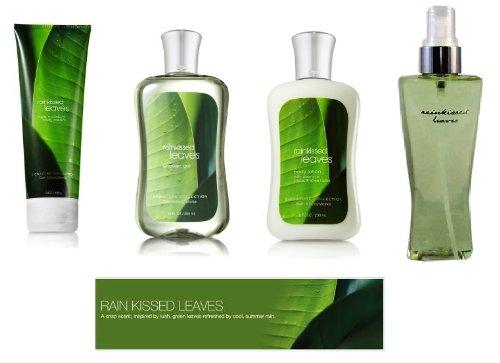 Body Cream Leaves (Bath & Body Works Rainkissed Leaves Body Lotion, Body Cream, Shower Gel & Fragrance Mist Gift Set Full Size)