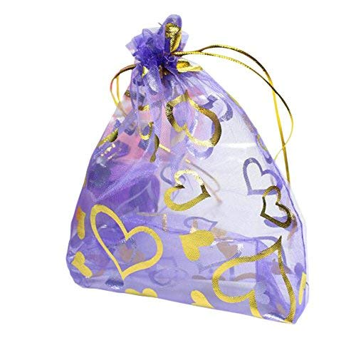 100Pcs Heart Organza Drawstring Jewelry Favor Gift Bag Candy Storage Pouches Bag CN