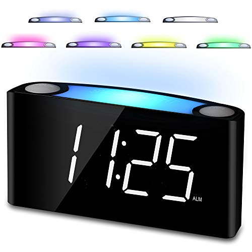 Digital Alarm Clock for Bedrooms, 7 LED Large Display & Slider Dimmer, 12/24 H, 2 USB Chargers, Loud Alarm for Heavy Sleepers, 7 Color Night Light Alarm Clock for Kids Boy Girl Travel Desk Nightstand