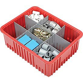Plastic Dividable Grid Container, 22-1/2''L x 17-1/2''W x 8''H, Red - Lot of 3