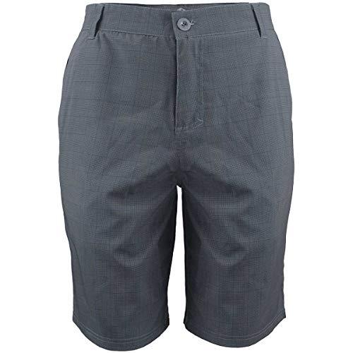 (Mens Stretch Hybrid 21'' Shorts Plaid Design Dry Fit Lightweight Broardshort Light Grey 40)