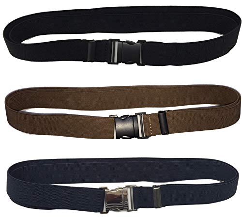 THREE PACK adjustable Men's and Women's STRETCH Waist Belt with FLAT snap buckle. 1 Black Belt with Black Buckle, 1 Khakhi Belt with Black Buckle and 1 Blue Belt with Silver Buckle. by American Star