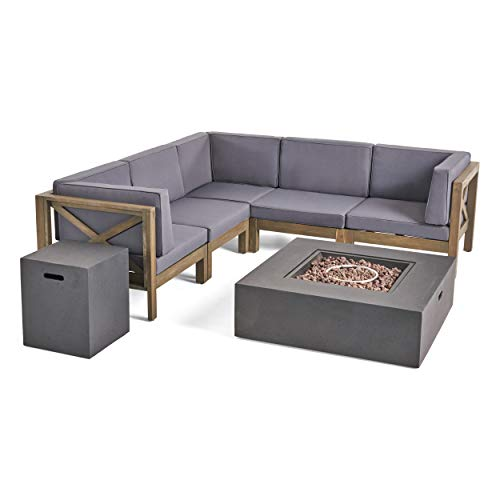 (Great Deal Furniture Kaylee Outdoor Sectional Sofa Set with Fire Pit | 7-Piece 5-Seater | Acacia Wood | Water-Resistant Cushions | Includes Tank Holder | Gray and Dark)