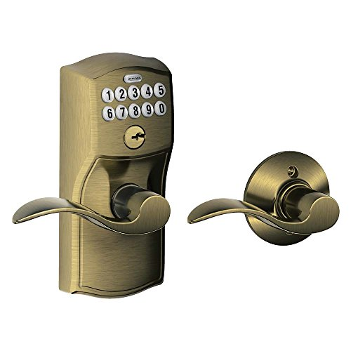 Schlage FE575 CAM 609 ACC Camelot Keypad Entry with Auto-Lock and Accent Levers, Antique Brass