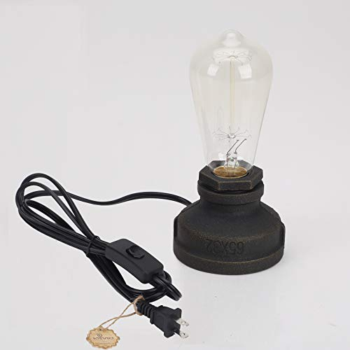 Kiven Steampunk Table Lamp UL Certification Button Switch Cord Vintage Style Desk Light E26 Iron Base Modern Antique Table Light Bulbs Not Included (Antique Table)