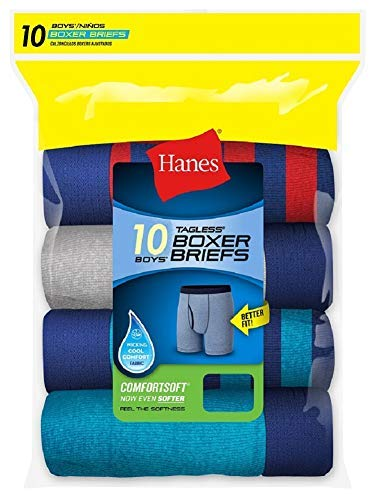 Hanes Boys Tagless Boxer Briefs 6 Pair Covered ComfortSoft Waistband