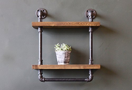 Industrial Style Bathroom Shelves with Towel Bar, Rustic Pipe and Wood Towel Rack, Ships from Detroit, MI