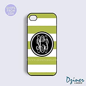 Monogram Case Cover For SamSung Galaxy Note 3 model - Lime Green White Stripes Black Circle