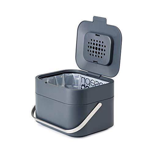 Joseph Joseph 30016 Intelligent Waste Compost Bin Food Waste Caddy with Odor Filter and Ventilation, 1 gallon / 4 liters, Graphite