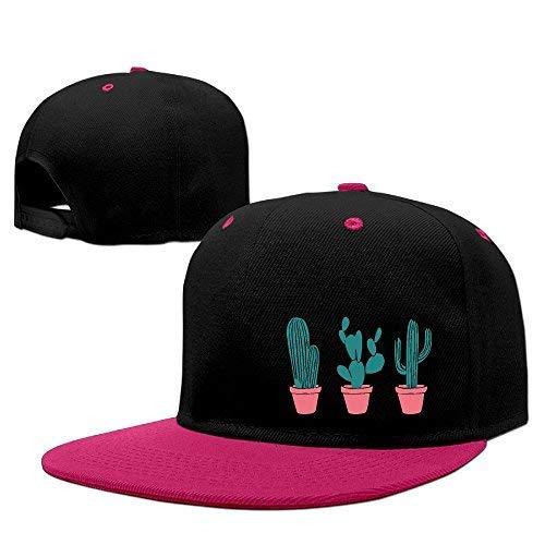 DoaaMota Unisex Potted Cactus Adjustable Hip Hop Flat Brim B