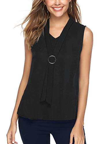 - iClosam Women Casual Bow Tie Chiffon V-Neck Cuffed Sleeve Blouse Tops (#Black(Sleeveless), X-Large)