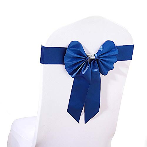 BalsaCircle 20 pcs Royal Blue Reversible Satin Faux Leather Bow Tie Chair Sashes with Buckles Wedding Party Reception Decorations Blue Faux Satin Bow