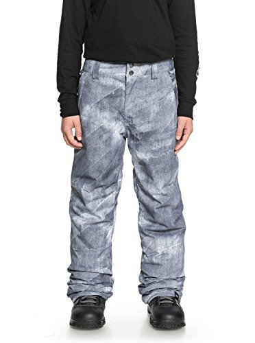 Quiksilver Boys Estate Youth 10K Snow Pants, Grey Simple Texture, -