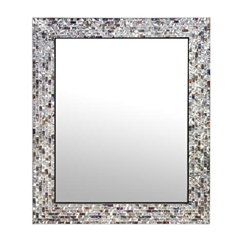 Multi-Colored & Silver, Luxe Mosaic Glass Framed Wall Mirror, Decorative Embossed Mosaic Rectangular Vanity Mirror/Accent Mirror (30