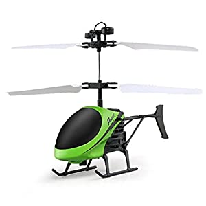 Fineser D-715 Remote Control Helicopter, Flying Mini RC Infraed Induction Helicopter Aircraft Flashing Light Toys For Kids (Green) 41Abz3VXynL