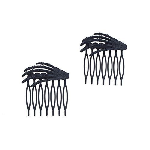 Spooky Halloween Clips (Lux Accessories Halloween Girls Fun Black Skeleton Hand Claw Scray Spooky Mini Fashion Hair)