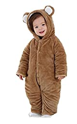 Mikistory Newborn Unisex Baby Animal Romper Jumpsuit One Piece Outfit Snowsuit(9-12 Month without footies, Brown Bear)