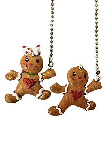 Mr. and Mrs. Gingerbread Man & Woman Ceiling Fan Pull Chain - Set of 2 by WeeZ Industries