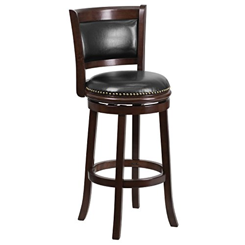 (Flash Furniture 29'' High Cappuccino Wood Barstool with Black Leather Swivel Seat)